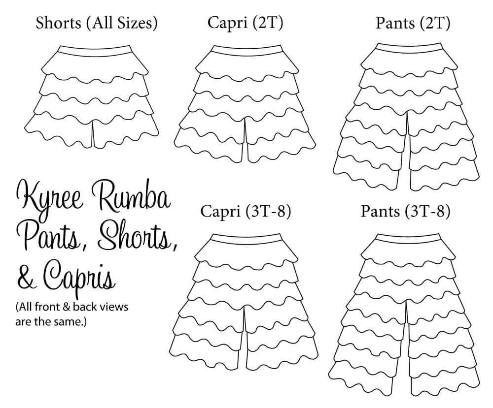Kyree's Rumba Pants, Shorts, and Capris Sizes 2T to 8 Kids PDF Pattern