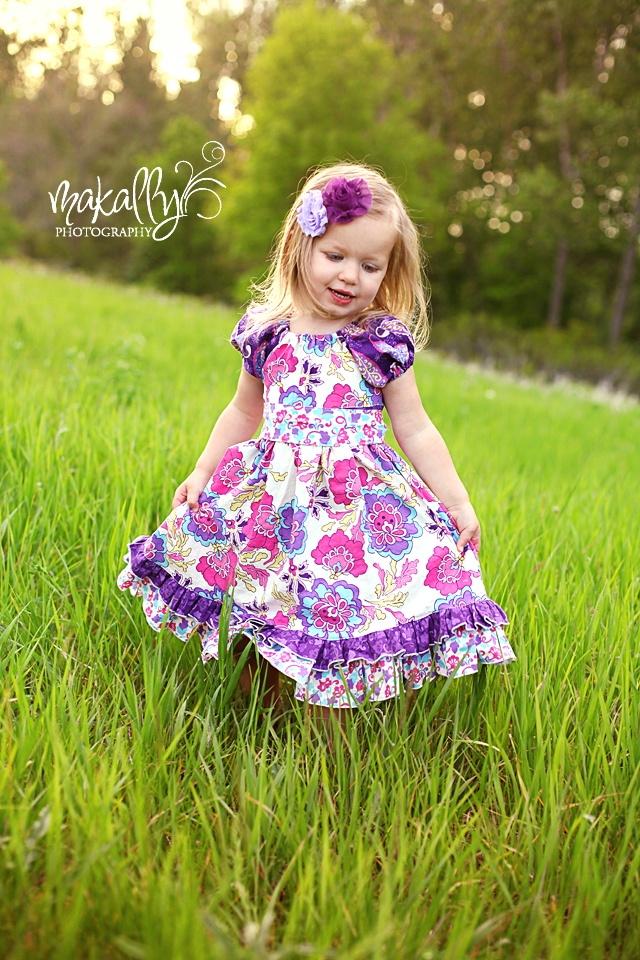 Demi's Ruffled Peasant Dress Sizes 6/12m to 8 Kids and Dolls PDF Pattern