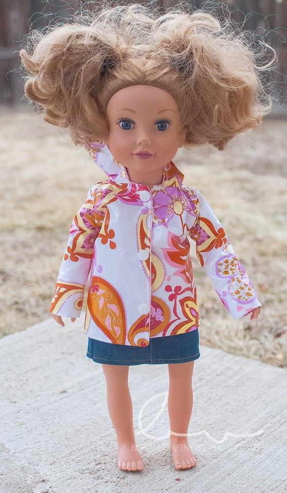 Rowen's Raincoat Sizes 6/12m to 15/16 Kids and Dolls PDF Pattern