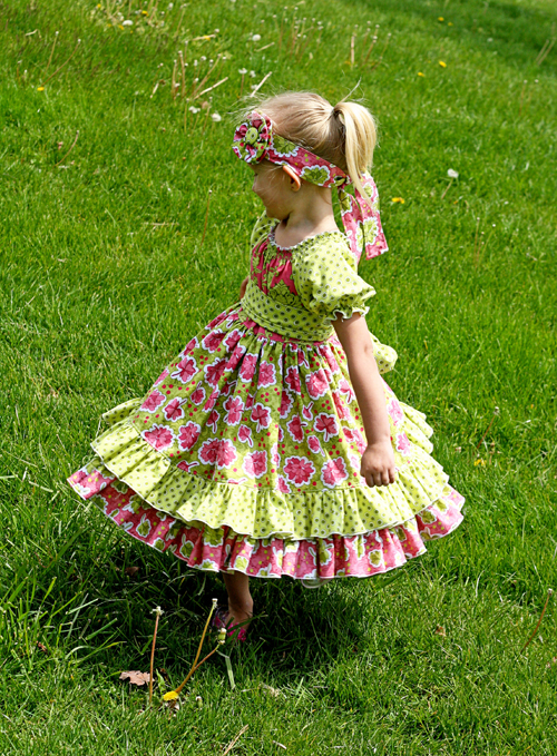 Elena's Twirly Peasant Dress Sizes 12/18m to 8 Kids and Dolls PDF Pattern