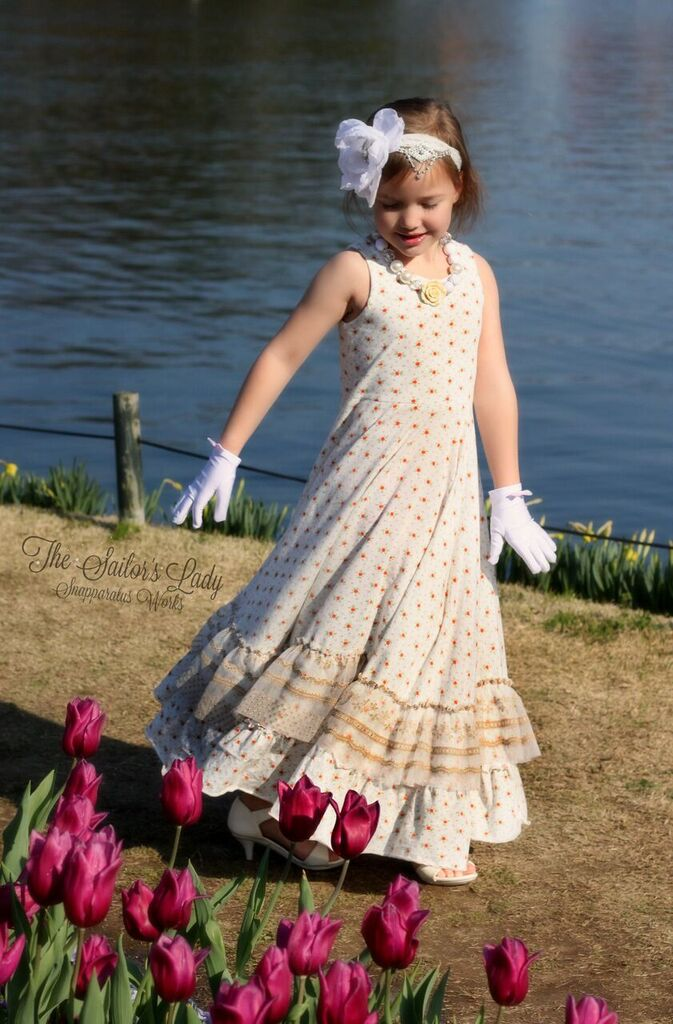 Alejandra's Ruffled Maxi Dress Sizes 6/12m to 8 Kids PDF Pattern
