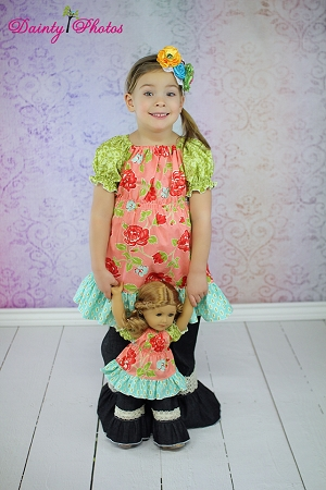 Paired with Jenna's Lace Ruffle Pants and Capris Pattern and Felicity and Jenna's Doll Pattern Set