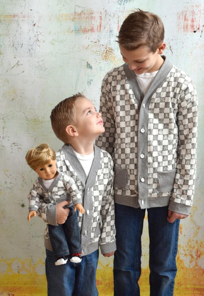 Elijah's Knit Cardigan and Ryker's Woven Skinny Pants Doll Sizes PDF Pattern