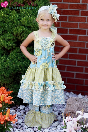Paired with Aubrey's Tiered Knot Dress Pattern