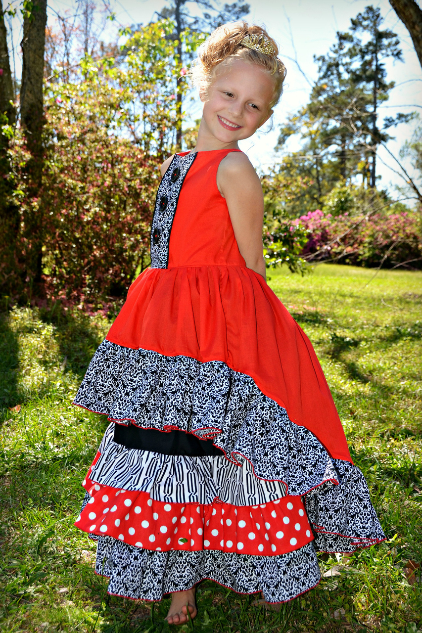 Finley's Fabulous Frilly Maxi Sizes 2T to 14 Kids and Dolls PDF Pattern