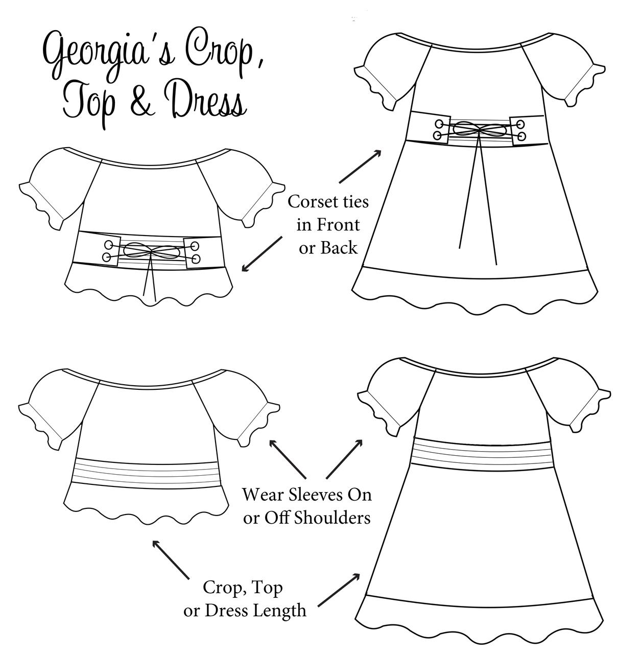 Georgia's Crop, Top, and Dress PDF Pattern