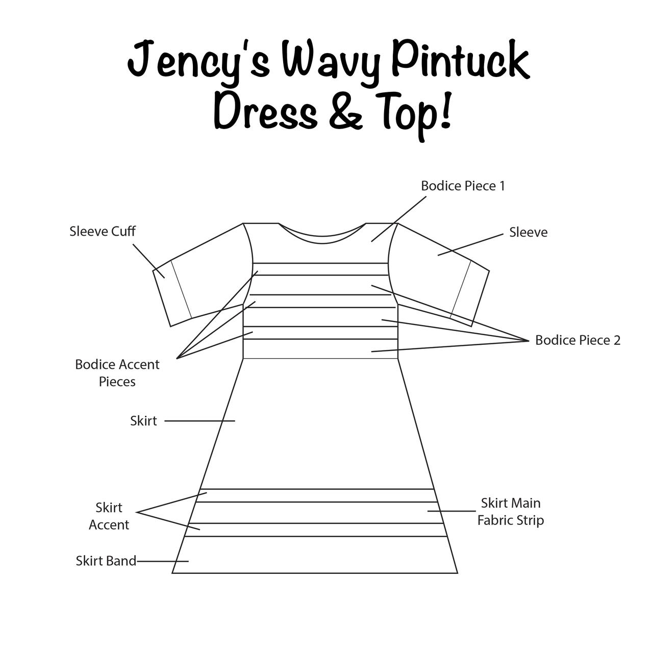 Jency's Wavy Pintuck Dress and Top Sizes 2T to 14 Kids PDF Pattern