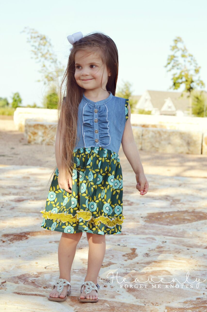 Mallory's Button Up Top and Dress Sizes 2T to 14 Kids PDF Pattern
