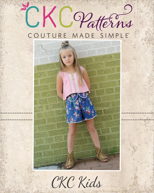 Kaelani's Reverse Crop Top Sizes 2T to 14 Kids PDF Pattern