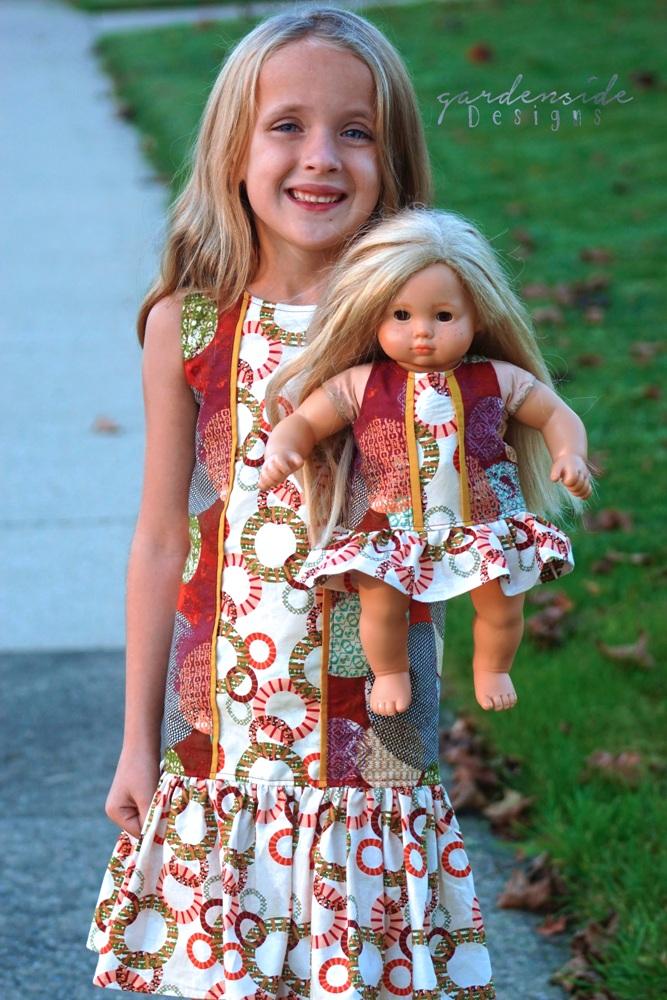 Della's Drop Waist Panel Dress and Tunic Sizes 2T to 14 Kids and Dolls PDF Pattern