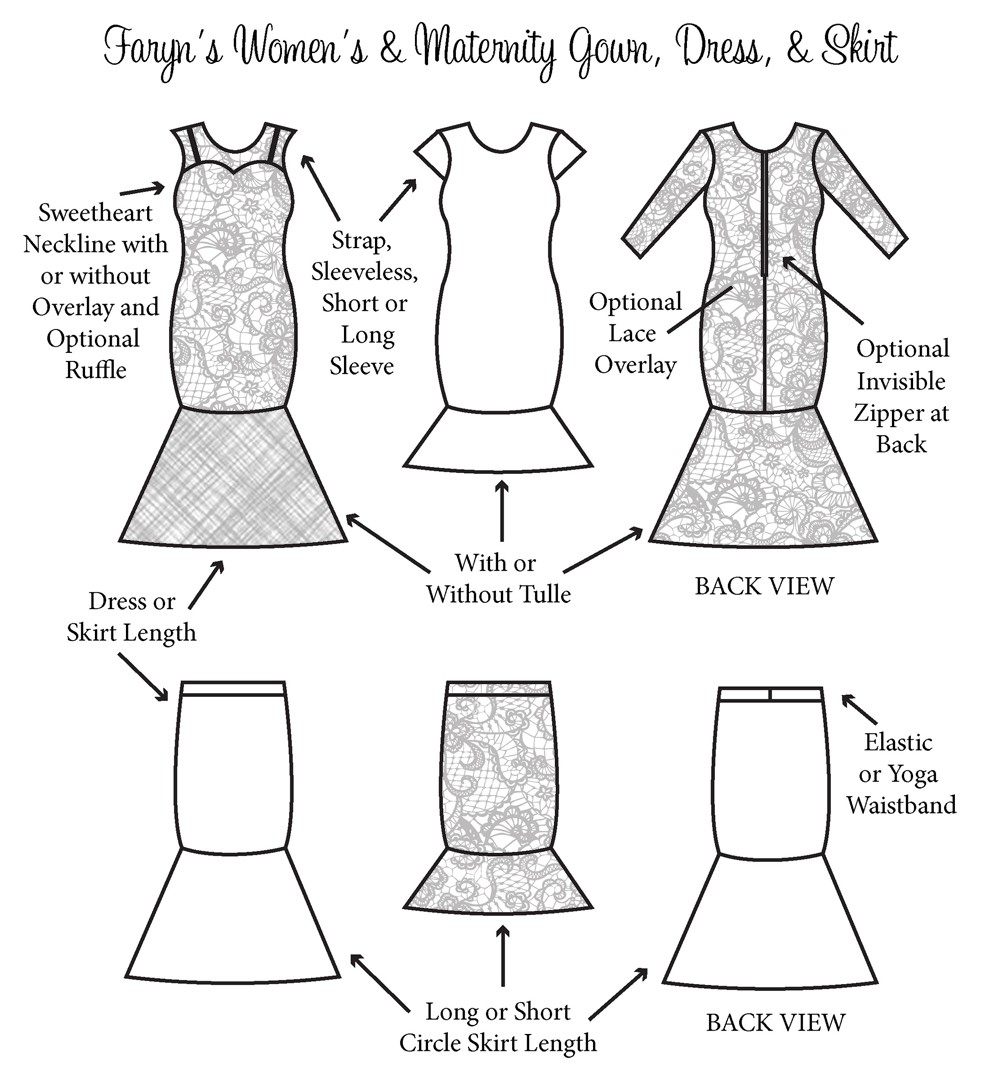 Faryn's Gown, Dress, and Skirt Sizes XXS to 4X Adults & Maternity PDF Pattern