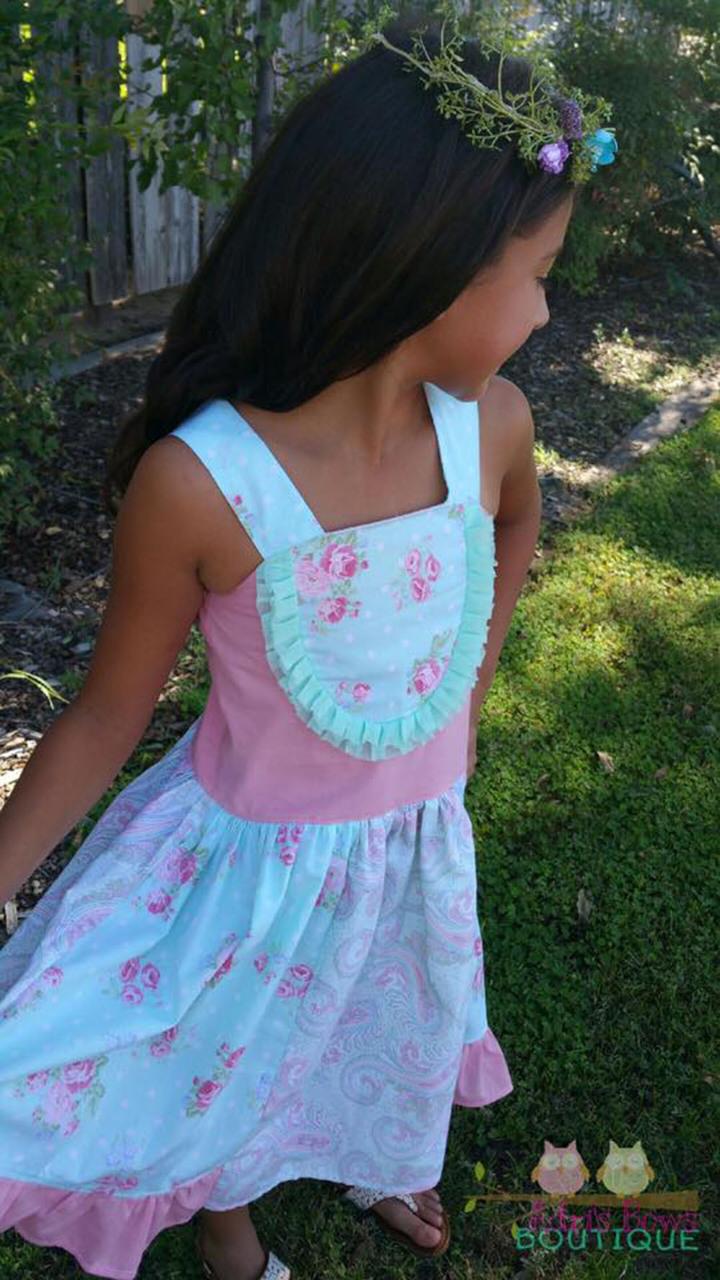 Perla's Perfectly Posh Knot Dress Sizes 2T to 14 Kids and Dolls PDF Pattern
