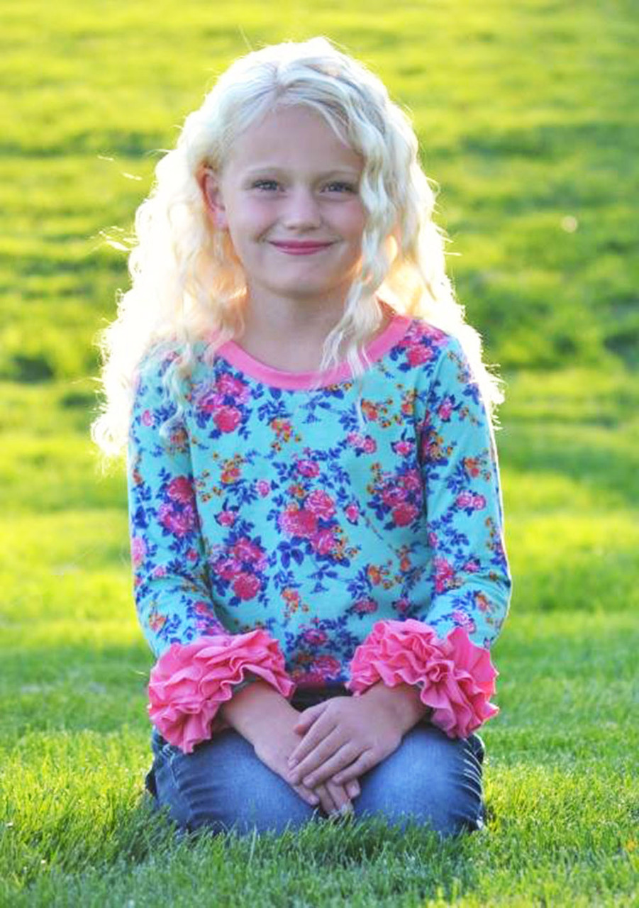 Rainey's Knit Ruffle Sleeve Top Sizes NB to 14 Kids and Dolls PDF Pattern