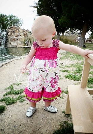 Lily's Lovely Apron Romper Sizes 6/12m to 8 Kids and Dolls PDF Pattern