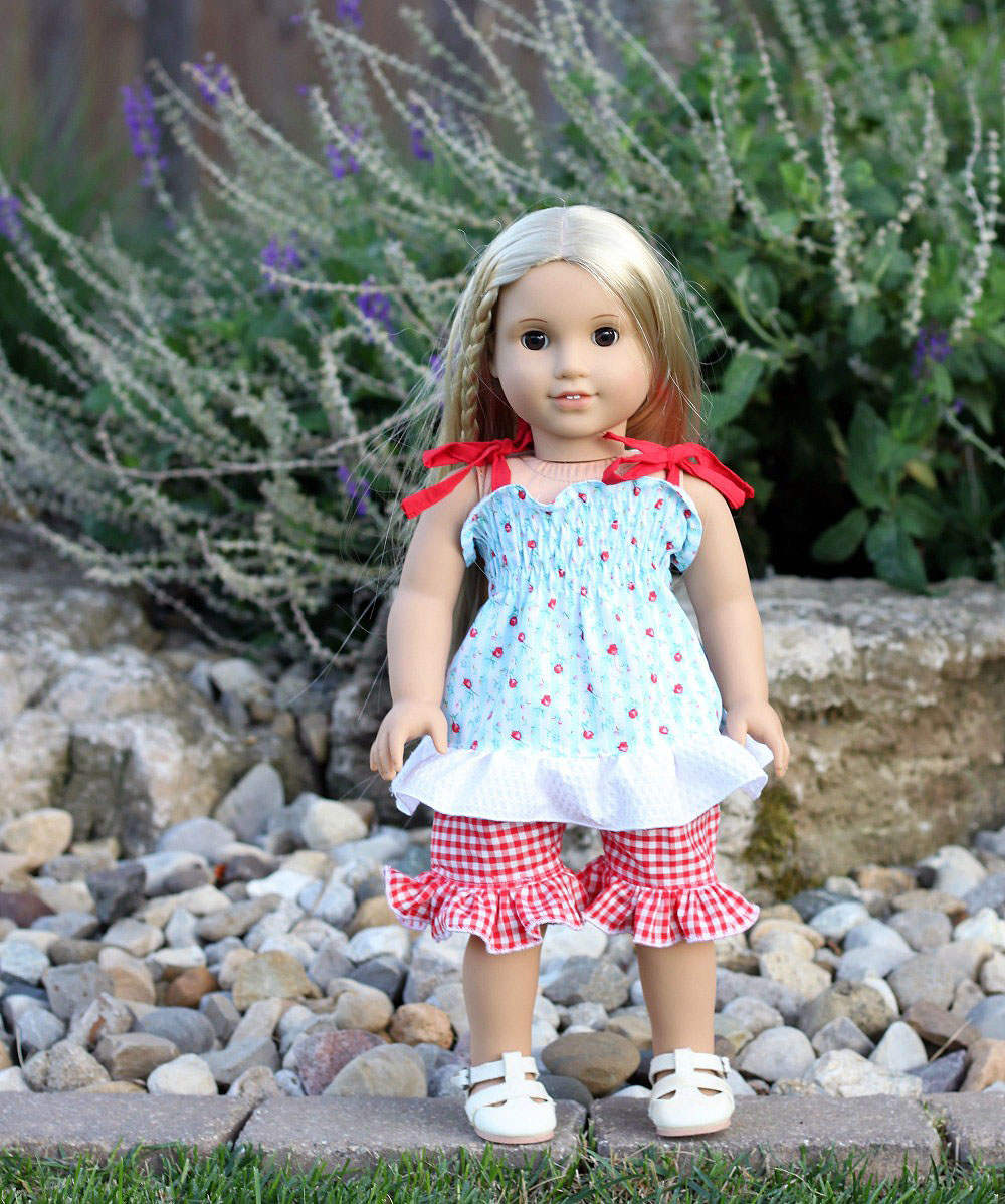 Magnolia's Top and Apron Set and Layne's Ruffled Shorts Doll Sizes PDF Pattern