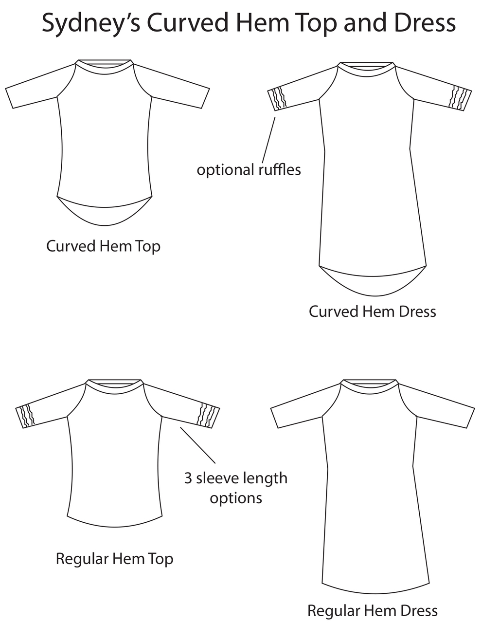 Sydney's Curved Hem Ruffle Raglan Top and Dress Sizes XXS to 4X Adults PDF Pattern