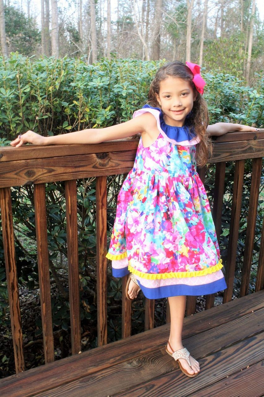 Rosabella's Ruffle Neck Dress Sizes NB to 14 Kids PDF Pattern