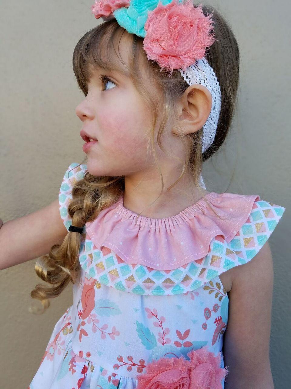 Rosabella's Ruffle Neck Dress Sizes NB to 14 Kids PDF Pattern