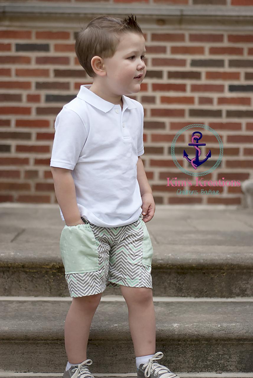 Quade's Bubble-Pocket Shorts Sizes NB to 14 Kids PDF Pattern