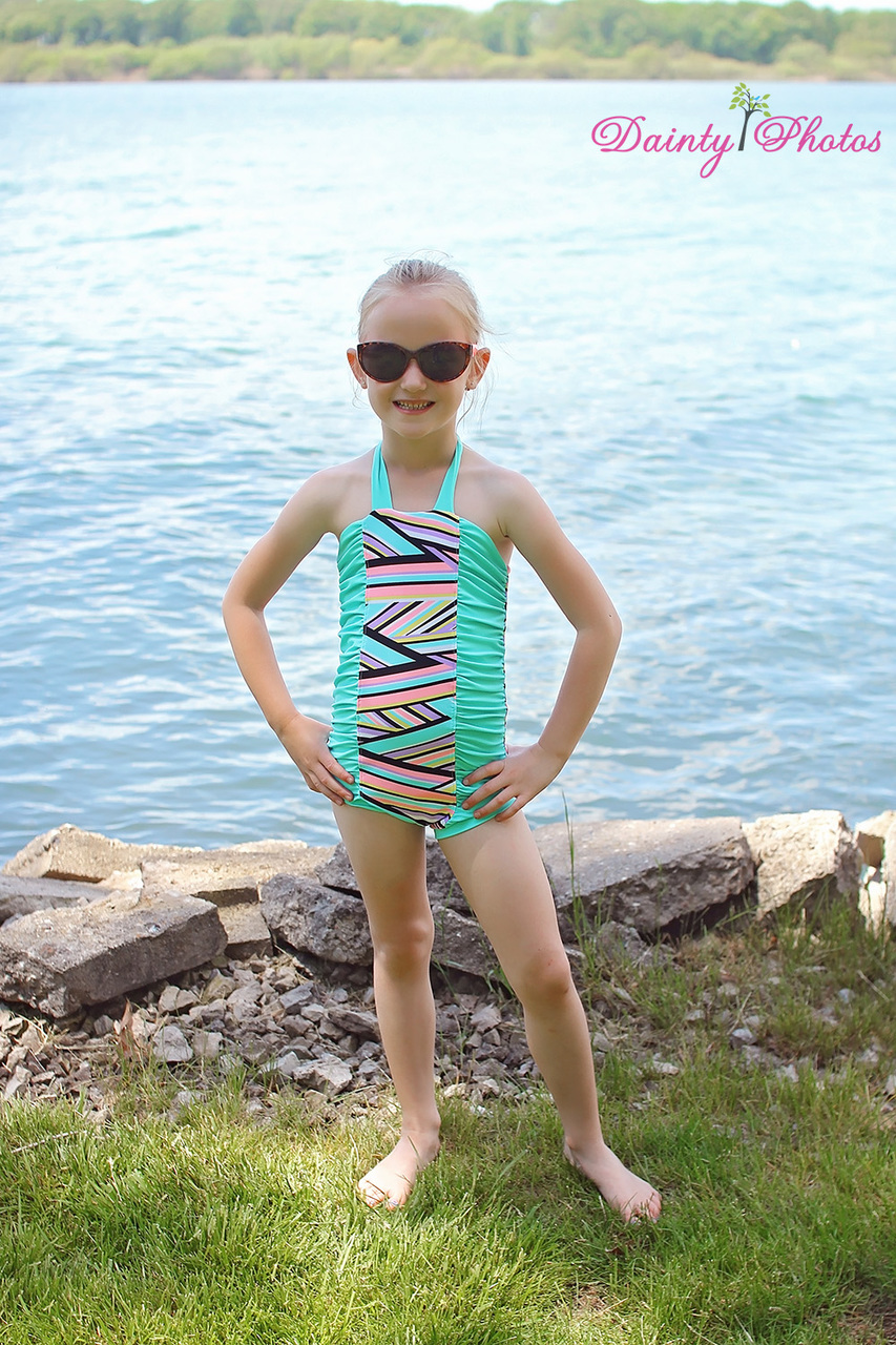 Ella's Retro Ruched Swimsuit Sizes NB to 14 Kids PDF Pattern