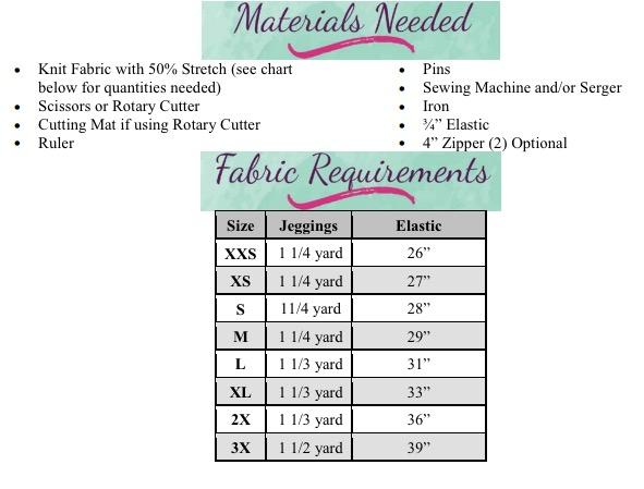 Jayda's Moto Leggings Sizes XXS to 3X Adults PDF Pattern