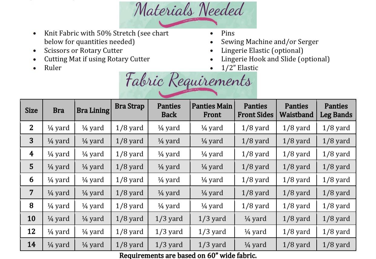 Xymena's Skivvies Sizes 2T to 14 Kids PDF Pattern