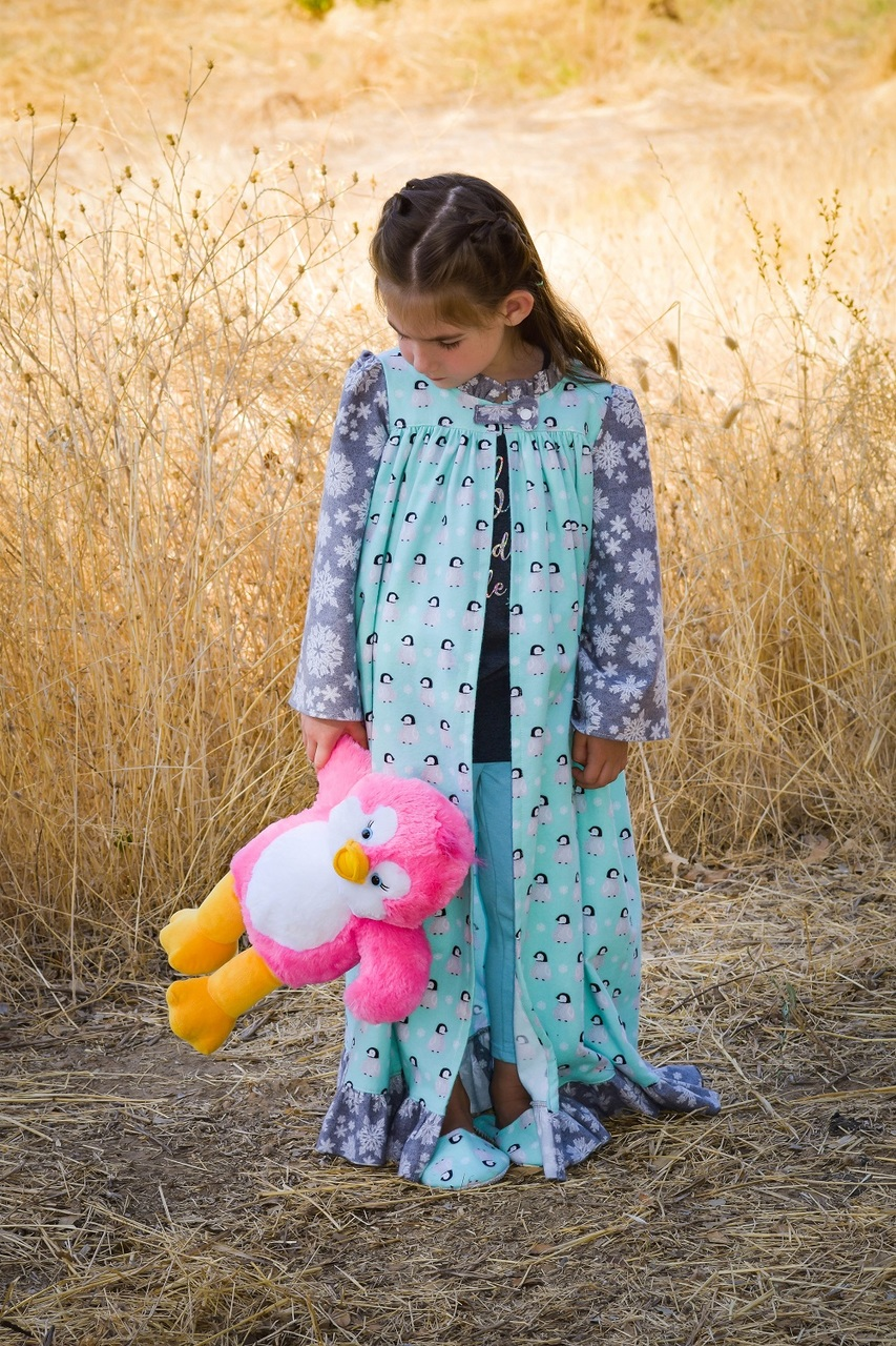 Lyra's Night Robe and Slippers Sizes 2T to 14 Kids and Dolls PDF Pattern