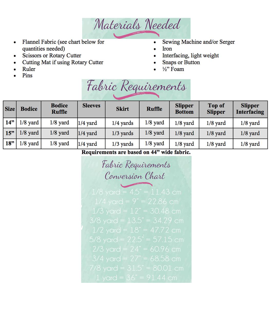 Lyra's Flannel Night Robe Dolls Sizes PDF Pattern