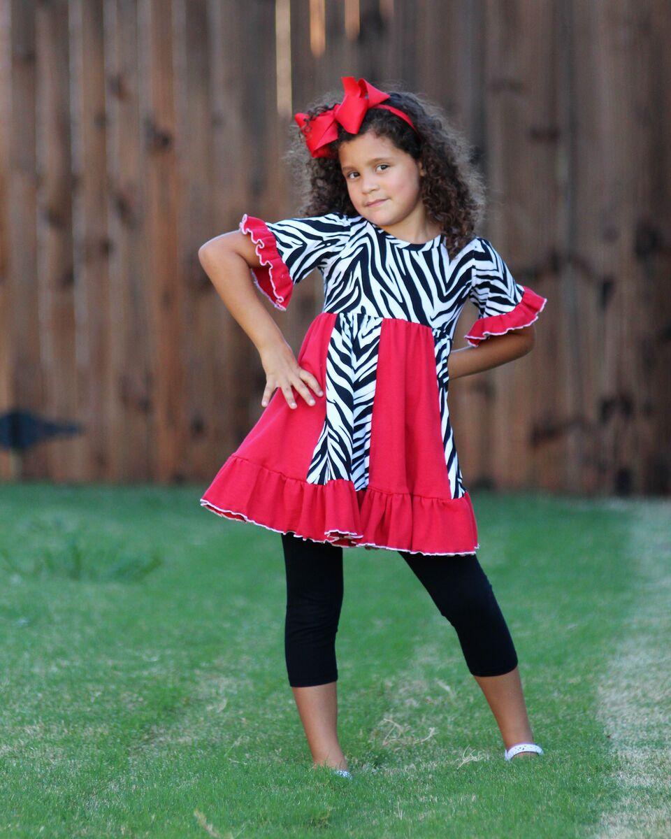 Vicki's Flared Knit Panel Tunic and Dress Sizes 2T to 14 Kids PDF Pattern