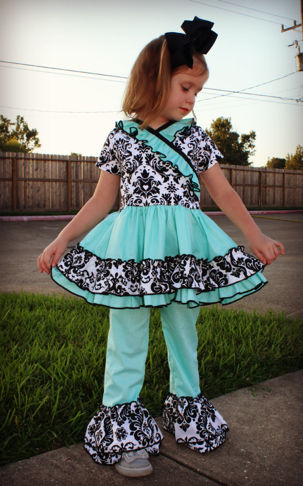 Adorabella's Crossover Dress, Tunic, and Pants Set Sizes 2T to 14 Kids and Dolls PDF Pattern