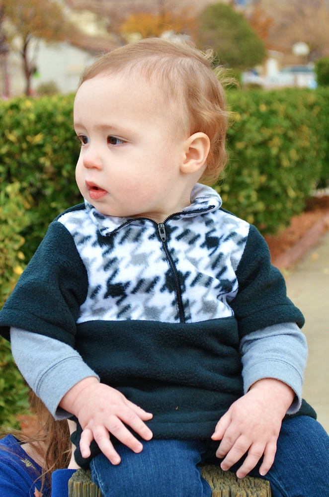 Lucas' Half-Zip Sweatshirt Sizes NB to 14 Kids PDF Pattern