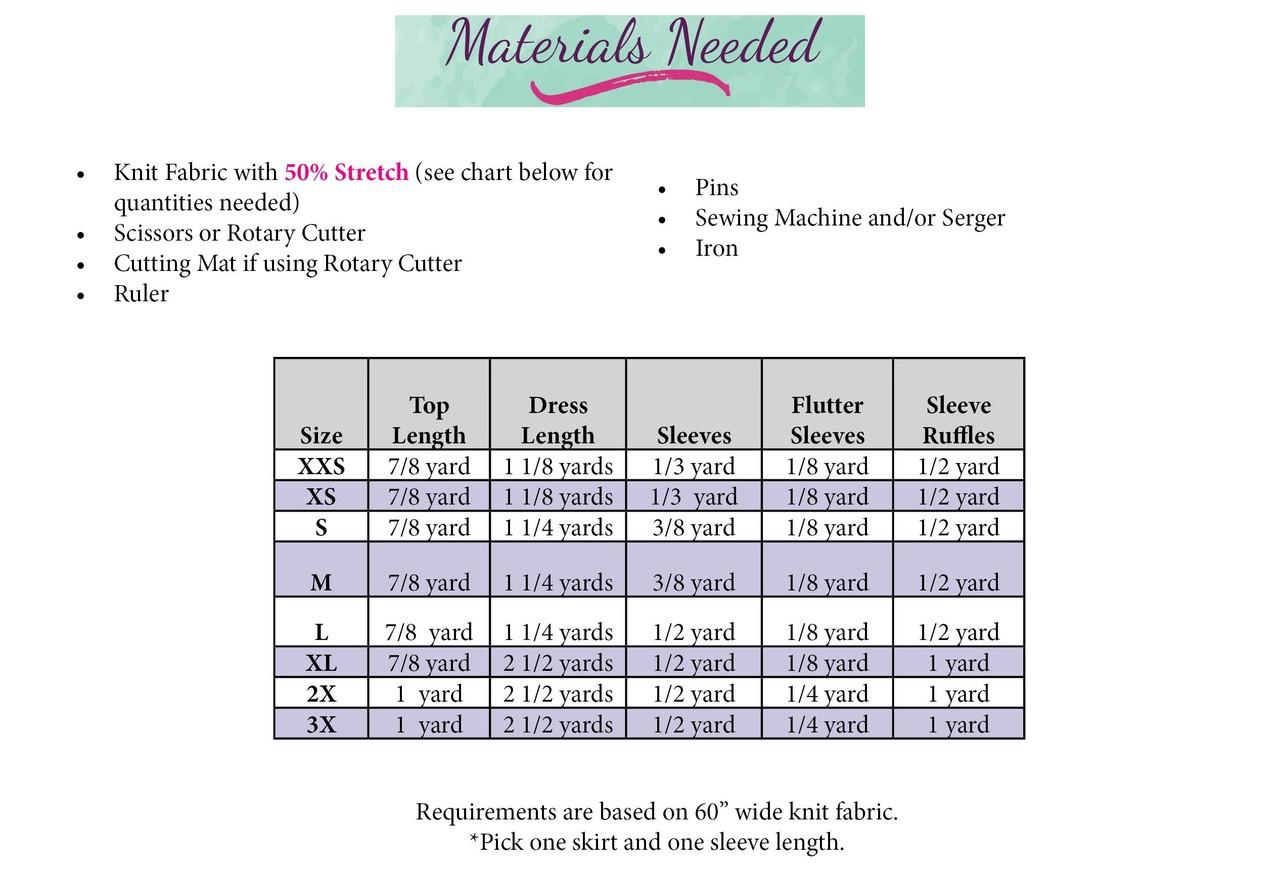Nelda's Knit Dress and Top Sizes XXS to 3X Adults PDF Pattern