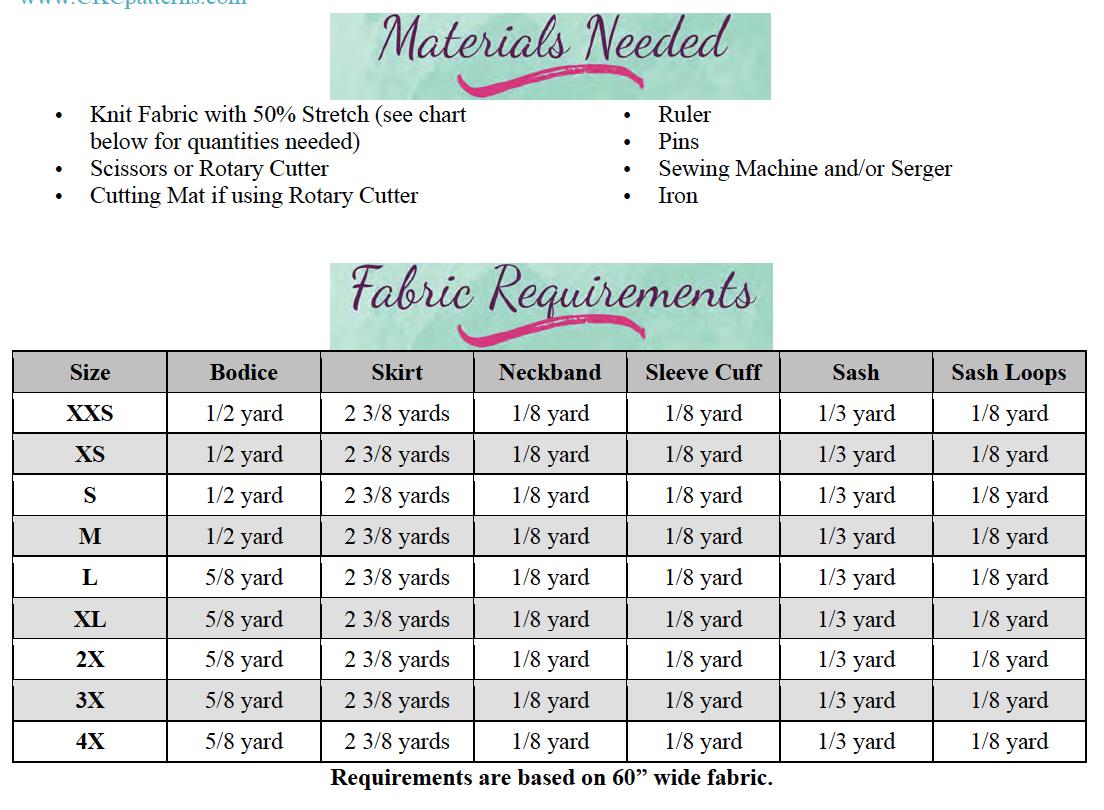 Tamara's Tulip Dress Sizes XXS to 4X Adults PDF Pattern