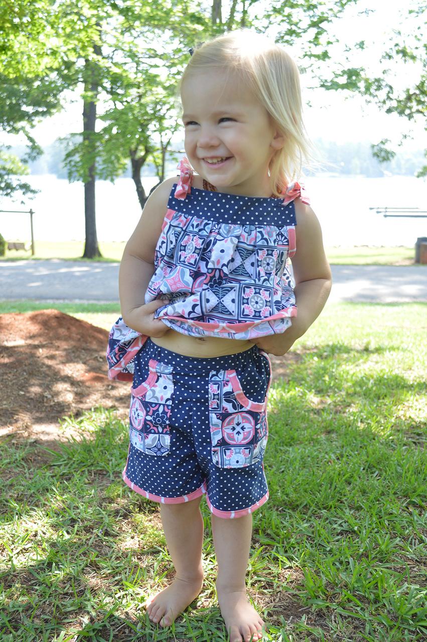 Dove's Bias Trim Pocket Shorts Sizes 2T to 14 Kids PDF Pattern
