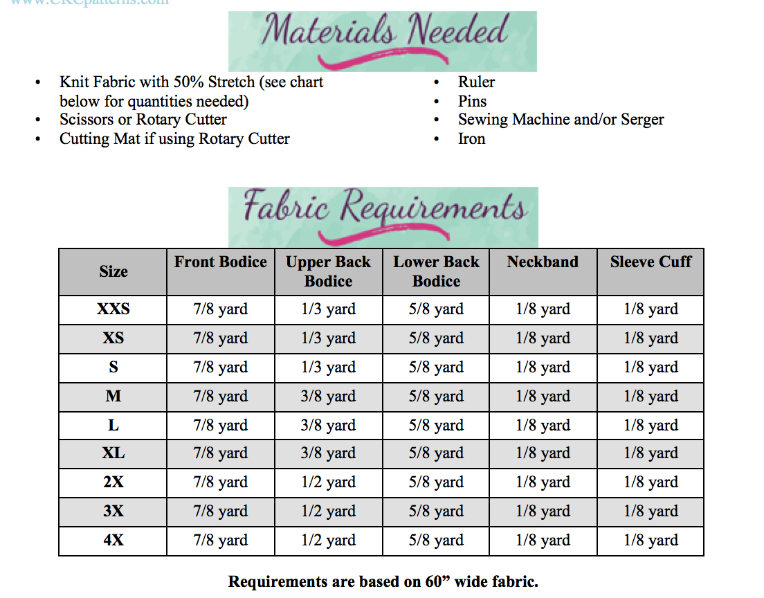 Tina's Top and Tunic Sizes XXS to 3X Adults PDF Pattern