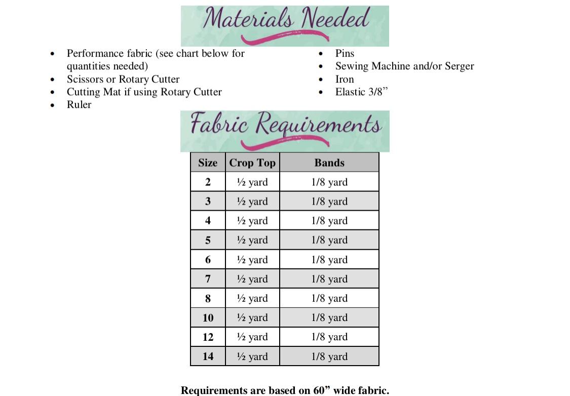 Yarley's Crop Top Sizes 2T to 14 Kids PDF Pattern