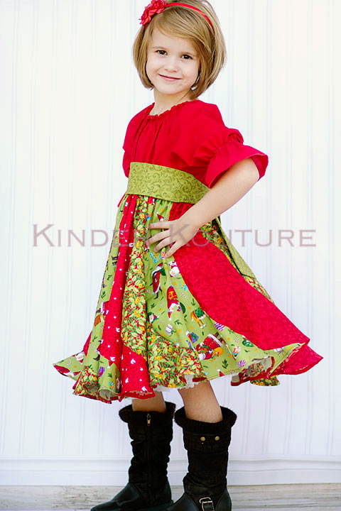 Violette's Swirly Peasant Dress Sizes NB to 8 Kids and Doll PDF Pattern
