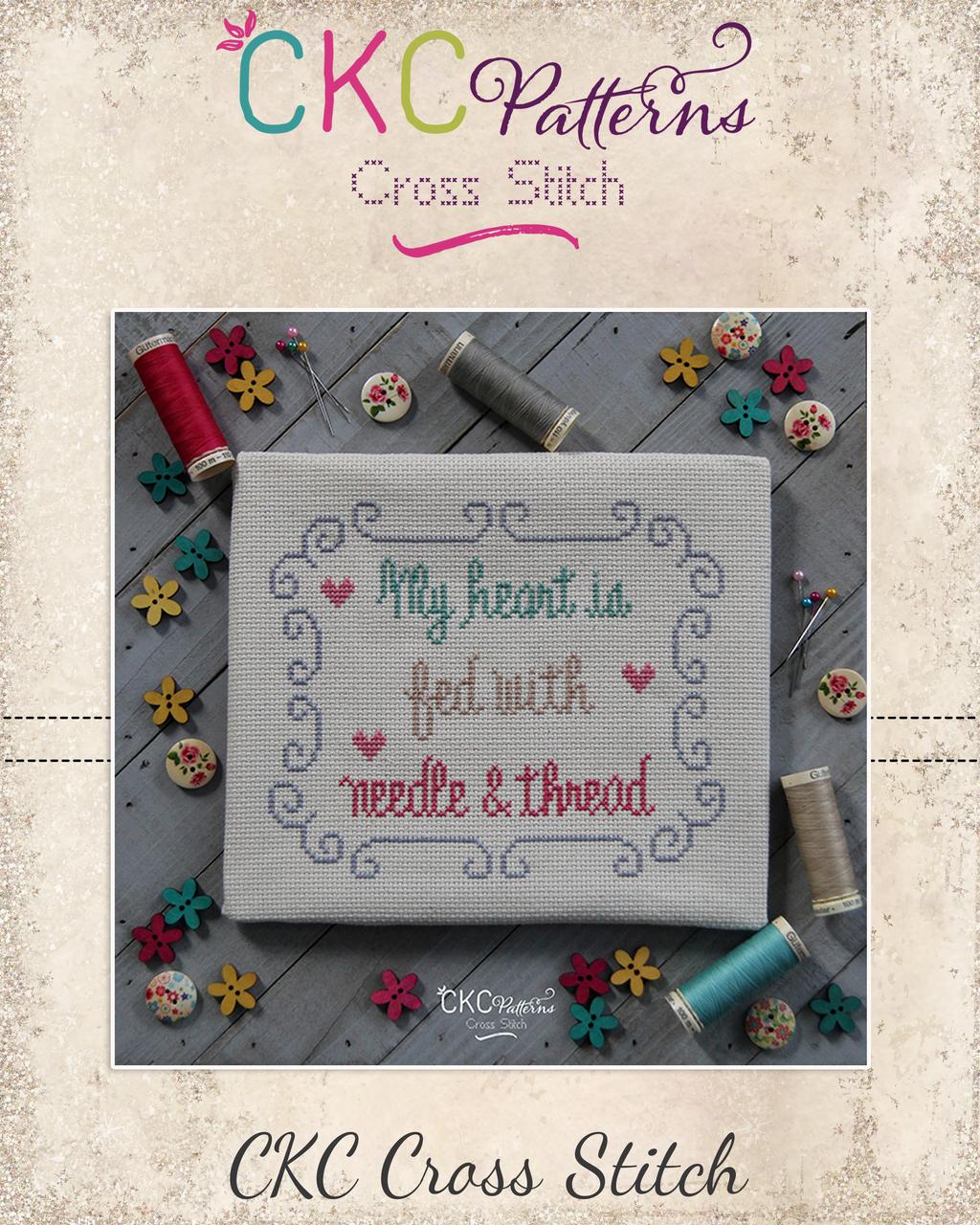 "Sewing ""Heart is Fed"" Cross Stitch PDF Pattern"
