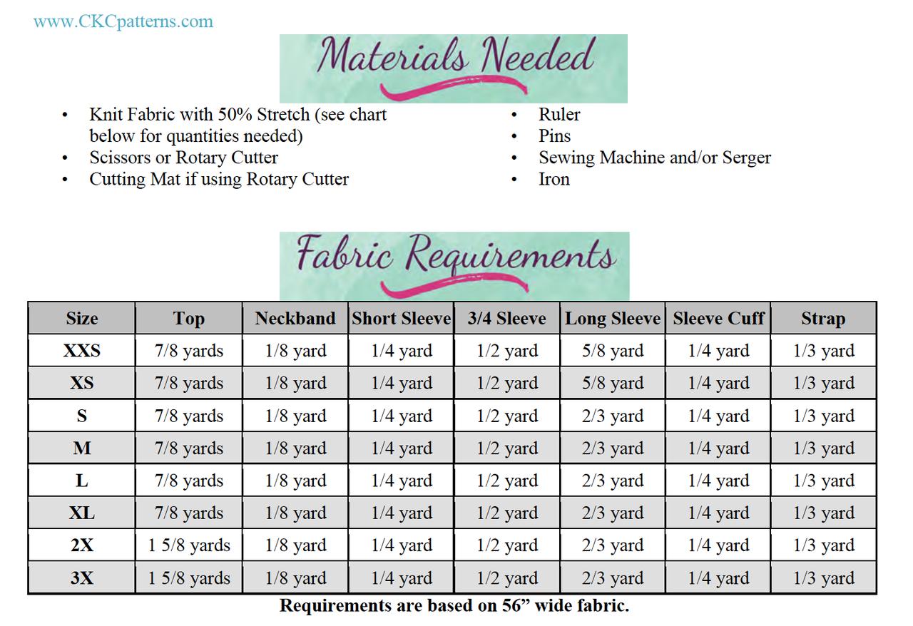 Ellis' Off The Shoulder Top Sizes XXS to 3X Adults PDF Pattern