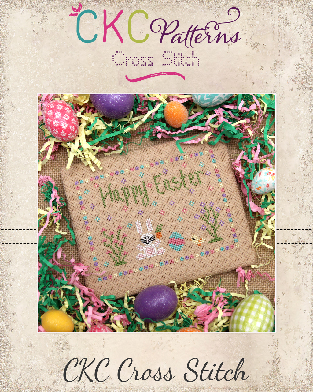 """Happy Easter"" Cross Stitch PDF Pattern"