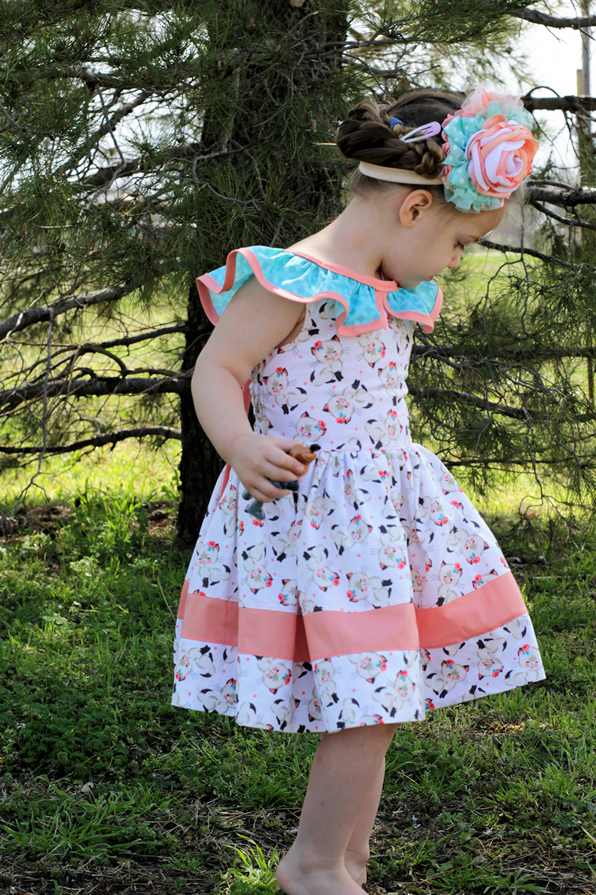 Laird's Ruffle Collar Dress Sizes 2T to 14 Kids PDF Pattern