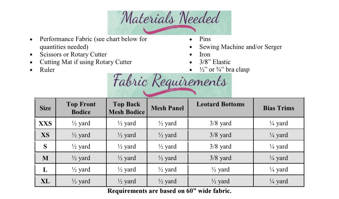 Makinley's Mesh Leotard Sizes XXS to XL Adults PDF Pattern