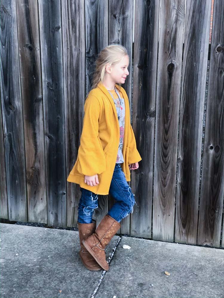 Kiara's Lantern Sleeve Cardigan Sizes 2T to 14 Kids PDF Pattern