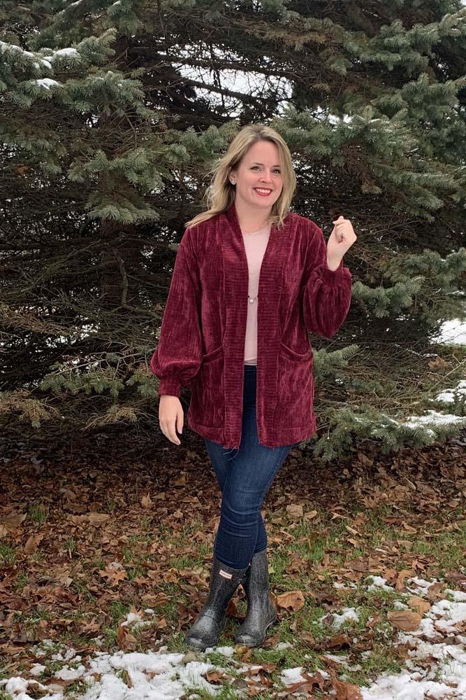 Kiara's Adult Lantern Sleeve Cardigan Sizes XXS to 3X Adults PDF Pattern