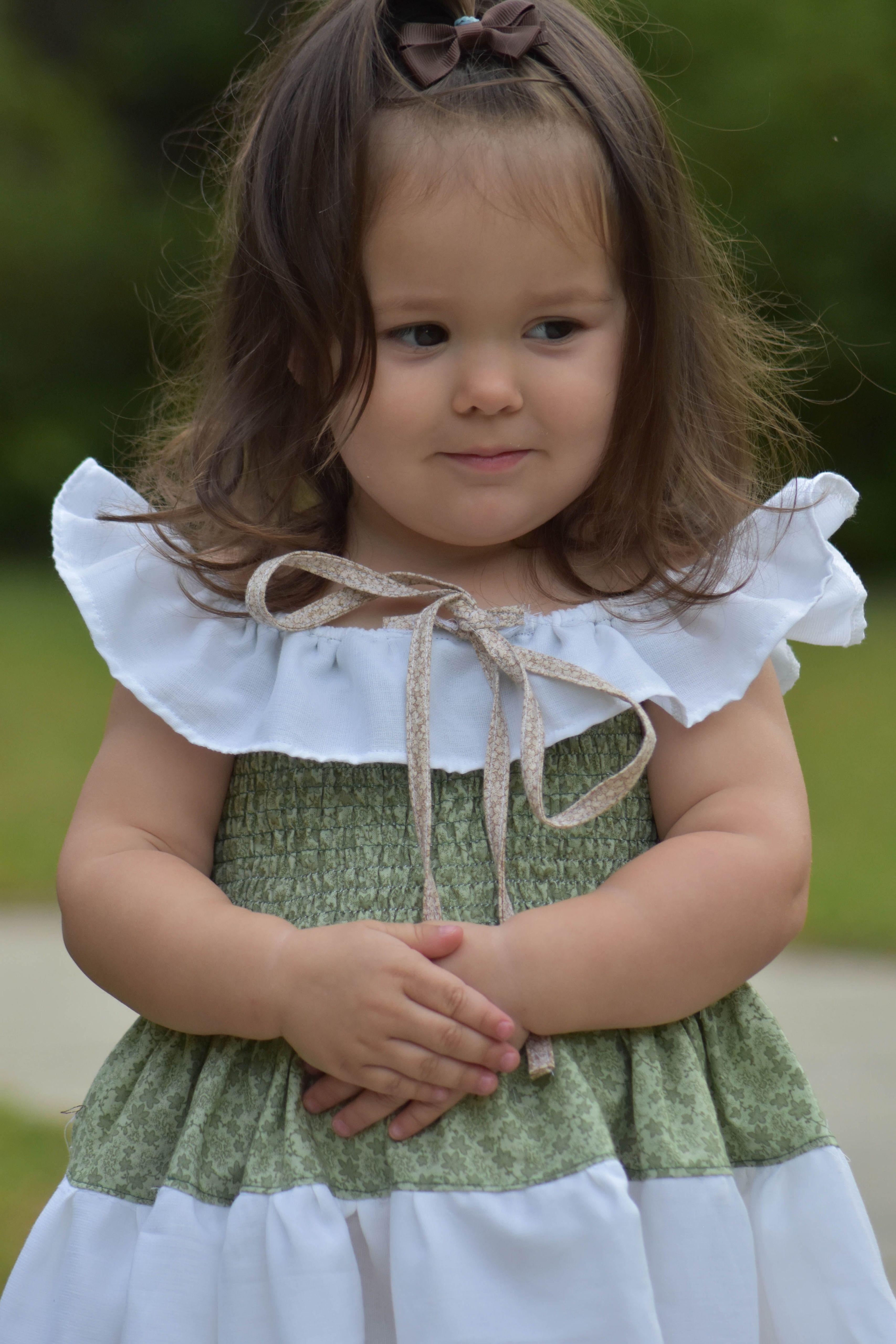 Esmeralda's Off The Shoulder Dress Sizes 2T to 14 Kids PDF Pattern