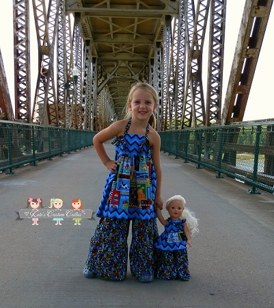 Paired with Lucy's Girls Apron Knot Top and Bridgette's Girls Palazzo Pants