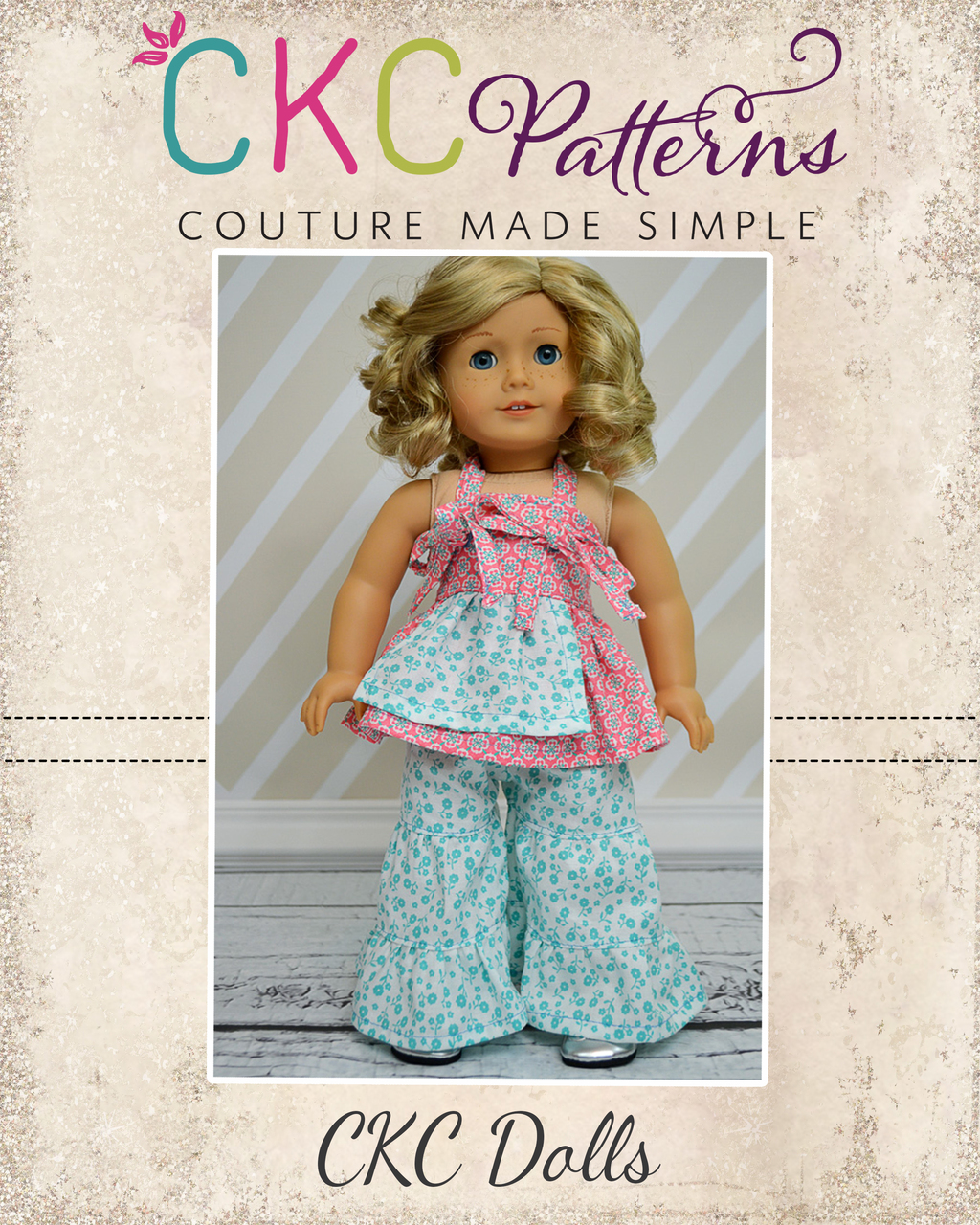 Lucy's Apron Knot Top & Bridgette's Palazzo Pants Doll Size PDF Pattern