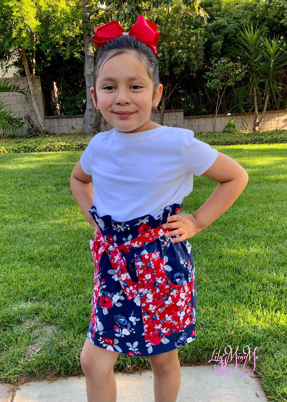Papaya's Paperbag Waist Skirt Sizes 2T to 14 Kids PDF Pattern