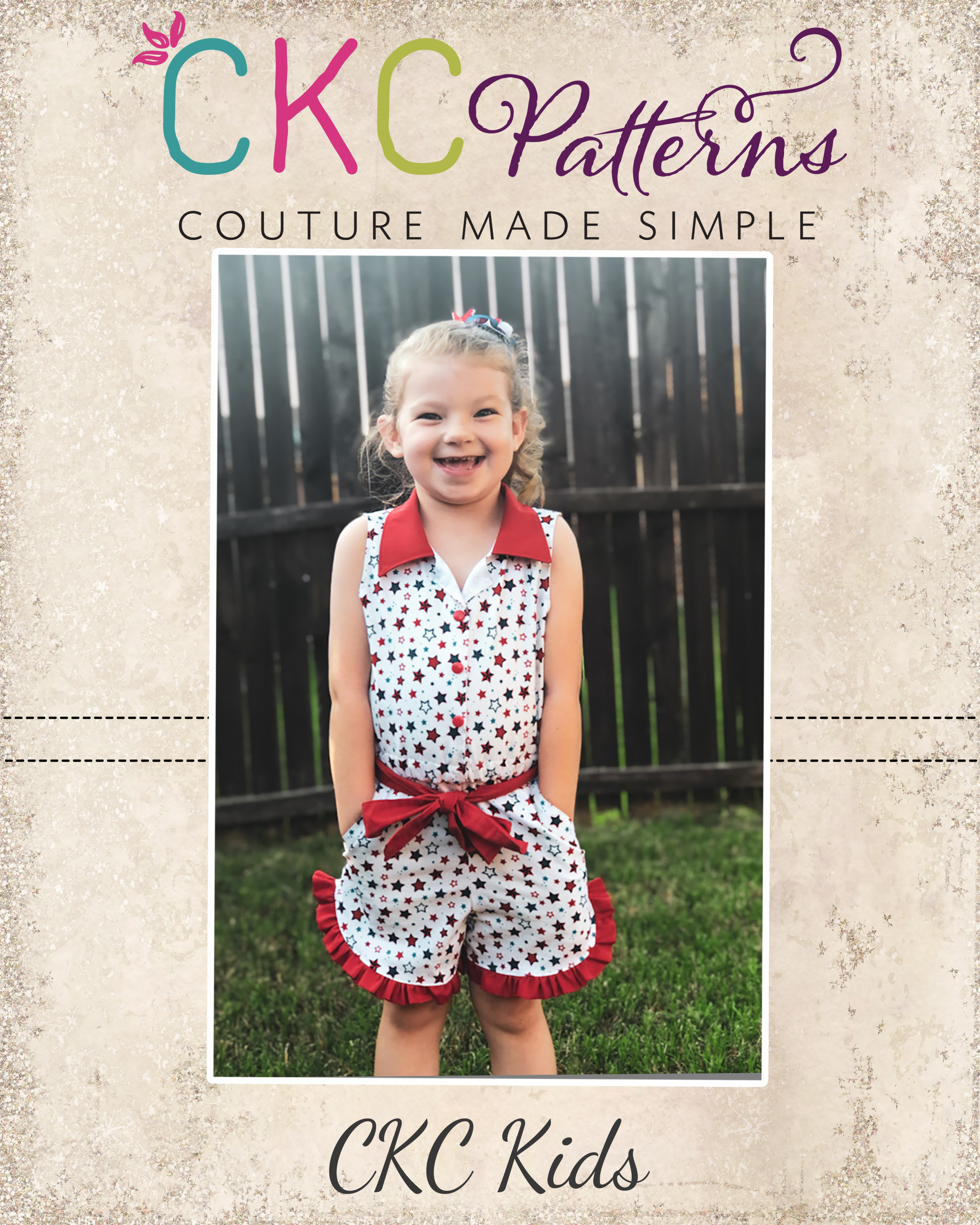 Skeeter's Buttonfront Romper Sizes 2T to 14 Kids PDF Pattern