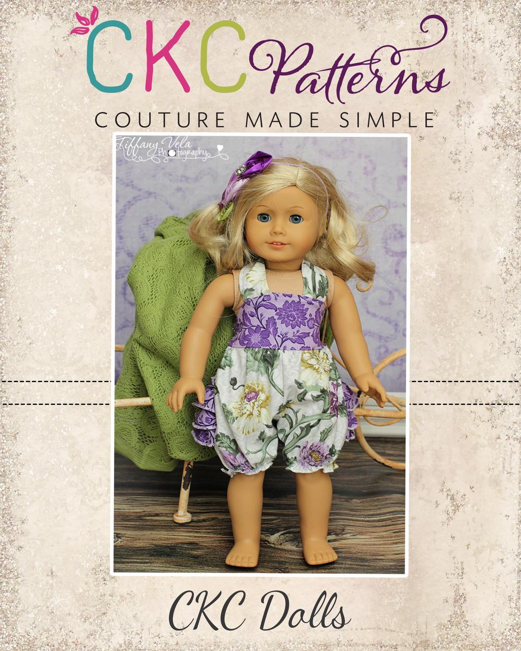 Natalie's Ruffle Butt Romper Doll Size PDF Pattern